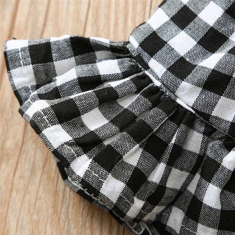 Summer Toddler Baby Kid Girl Sweet Cute Ruffled Plaid Belt Backless Sleeveless Clothes Holiday Casual Dress robe fille4JJ
