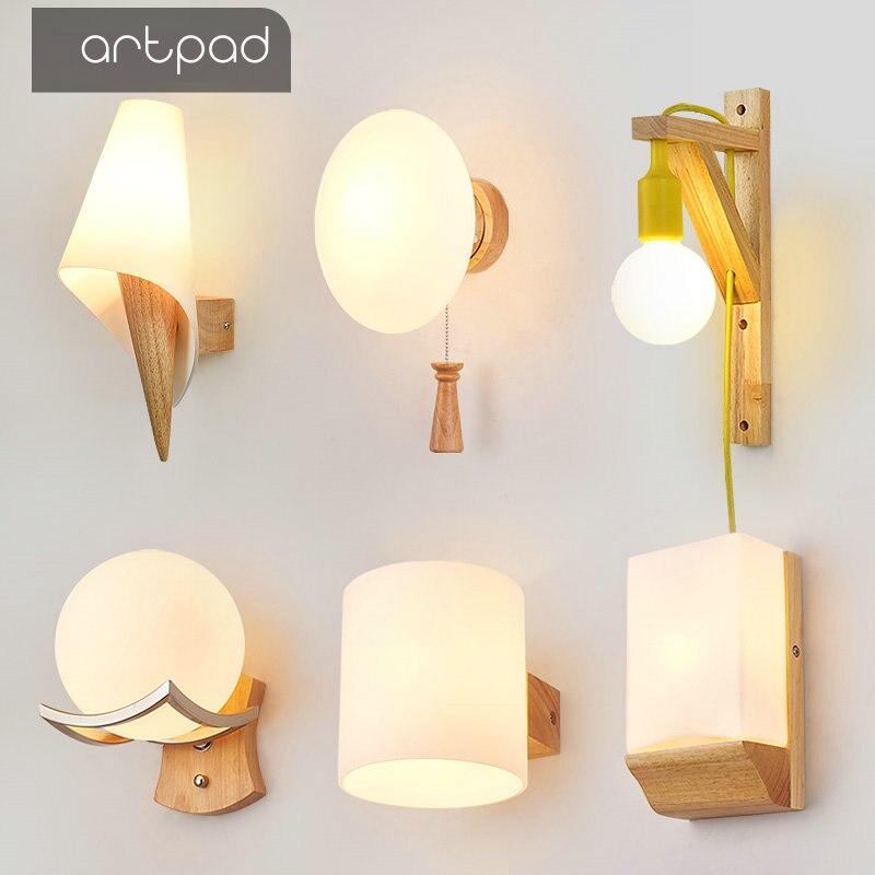Artpad Scandinavian Nordic Wall Wood Light Glass Lampshade Corridor Balcony Bedside LED Side Wall Lamps Interior for Home Decor декоративні лампи із дерева у стилі бра