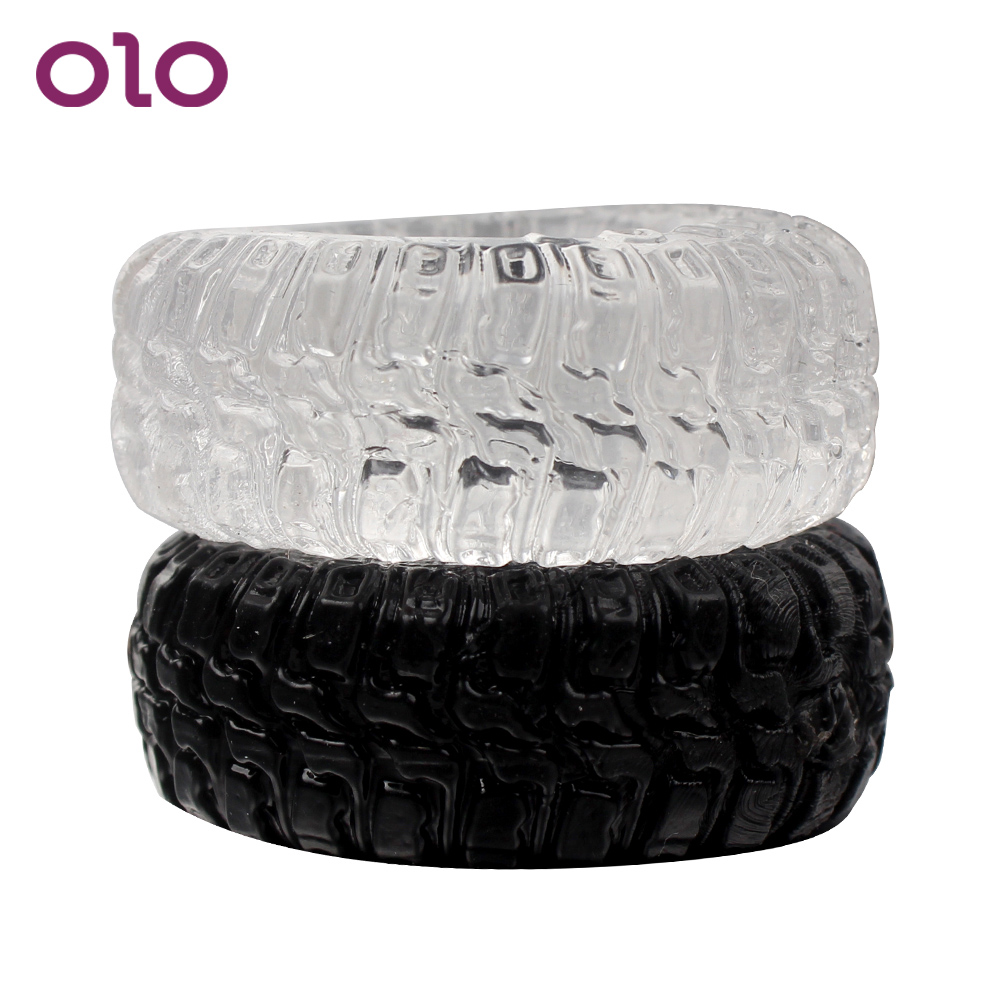 OLO Silicone Tire Type Cock Rings Sex Toys For Men Adults Products Delay Ejaculation Black/Transparent 2Pcs/Set Penis Rings