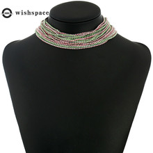 Europe and the United States fashionable woman contracted dazzle colour set auger claw chain necklace jewelry