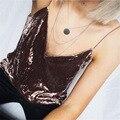 Mujeres Tank Tops Sin Mangas de Moda Otoño Invierno Sexy Mujer Con Cuello En V Camisola Niñas Camis Correa de Espagueti Femenina de Terciopelo Rosa