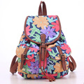 2017 New Arrival Women Vintage Animal and Flowers Printing Canvas Backpack Female Personality Leisure Backpack Students Bags