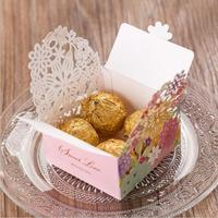 30pcs/pack Laser Cut Candy Boxes Pink Paper Flowers Hollow Out Chocolate Sweet Box Gift Bag for Wedding Supplies