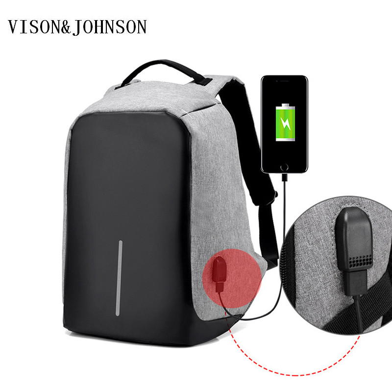 VISON&JOHNSON Large Capacity Men Backpacks Anti Theft Backpack Women Bag USB Charge 14Inch Laptop Mochila Travel SAC Back Pack kibdream new laptop backpacks designer brand large capacity travel bags men women unisex computer bag bolsas mochila sac a dos