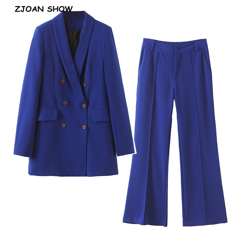 2019 New Autumn BF Style Double-breasted Button Women Blue Blazer High Waist Small Straight Pants Long Sleeve Suits 2 Pieces Set