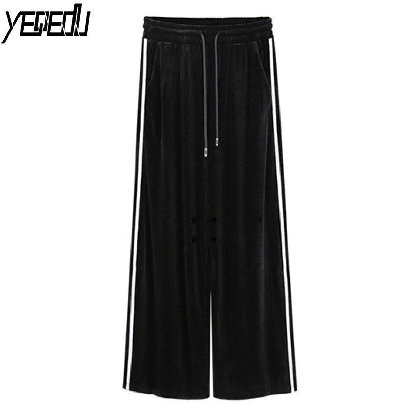 #0413 Spring 2018 Straight Black Side White Stripe   Wide     Leg     Pants   Velvet Plus size 6XL High Waist Loose Pantalon Large Femme