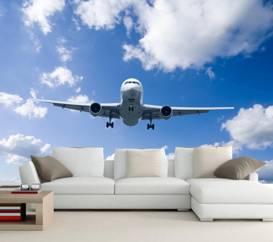 Custom papel de parede, Airplane Sky Clouds wallpapers,living room bedroom TV background wall 3d wall murals wallpaper custom wallpaper murals ceiling the night sky for the living room bedroom ceiling wall waterproof papel de parede