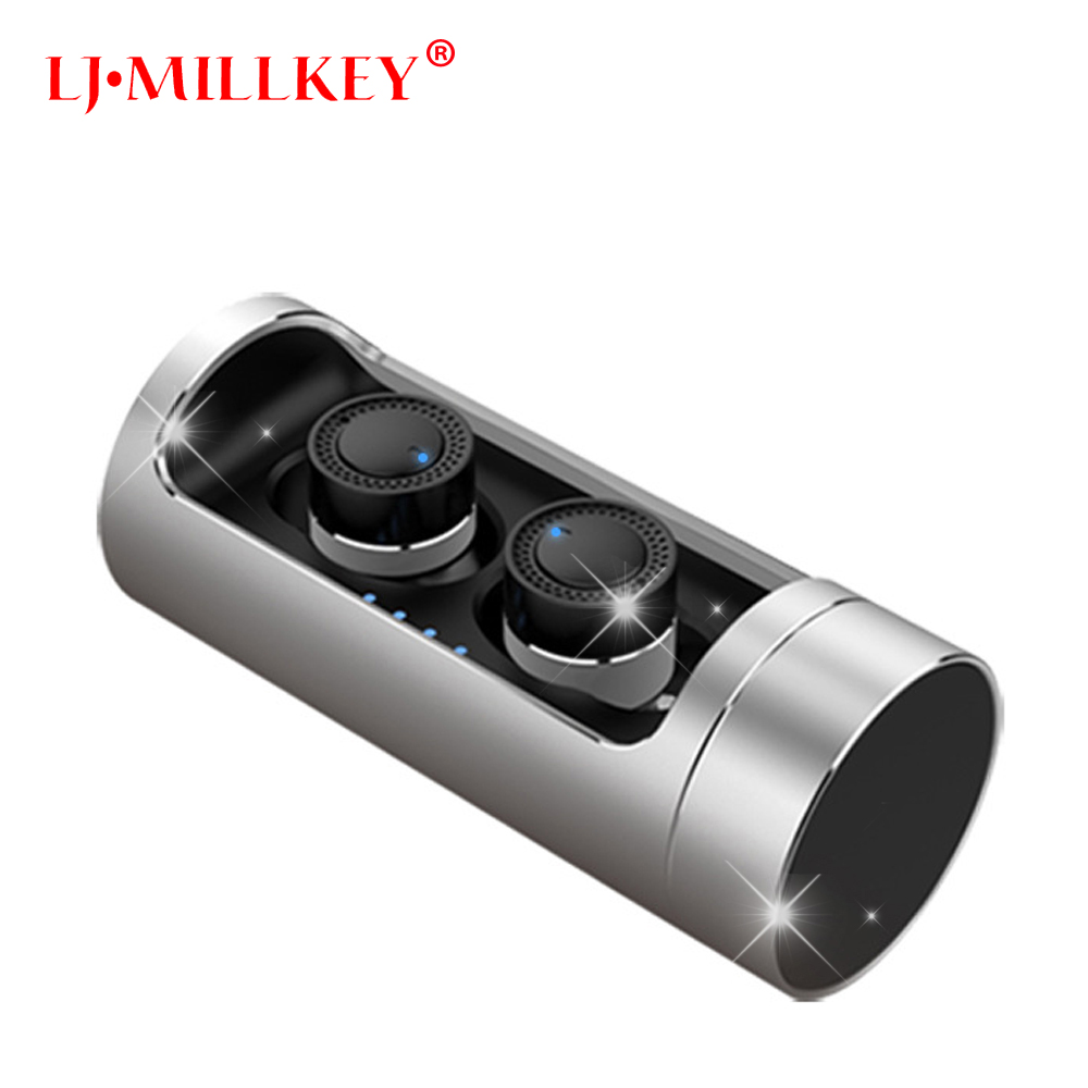 TWS Invisible Mini Headset 3D Stereo Hands-free Noise Reduction Bluetooth Headset Wireless Earphones and Power Bank box YZ141 mini wireless headphone bluetooth earphone earbuds airpods tws headset for hands free calling with power bank for mobile