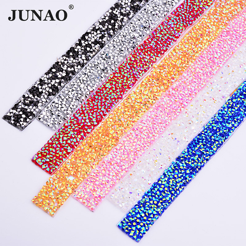 JUNAO 5 Yard * 15mm Hotfix Crystal AB Rhinestones Chain Trim Resin Crystal Applications Band Rhinestone مش پارچه ای برای لباس