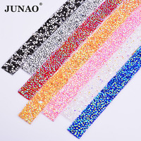 Junao 5 двор * 15 мм Crystal AB исправления Стразы отделкой цепочкой свадебные хрустальные аппликации strass сетки полосы для платья ремесла
