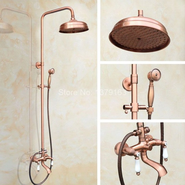 Wall Mounted 8 inch Round Red Copper Rain Shower Faucet Set W ...