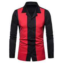 Fashion Men Shirt Long Sleeve Slim Shirt Top Printed red and back Shirt Turn-down Collar Button Pullover mens clothing(China)