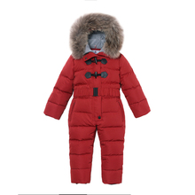 kids Down Rompers Winter Thick Down Climbing Clothes Fox Fur Girl Boy Suit Children's Winter Warm Jumpsuit Snowsuit Duck down80% jumpsuit duck down hooded fur collarjackets for newborns snowsuit warm overalls wear infant kids girl winter romper clothing set