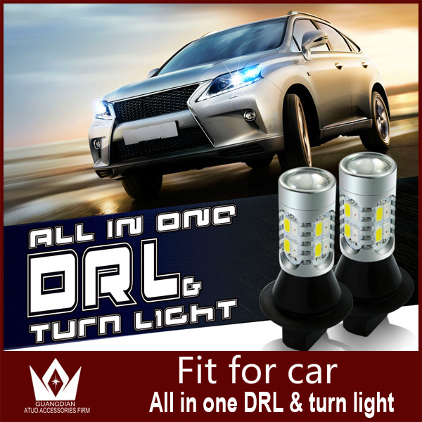 Guang Dian car led light daytime running light with Switchback Bulbs DRL with Turn Signal light t20 wy21w 7440 Fit For  IS 250 guang dian car led light gold color daytime running lights