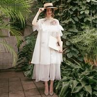 Высокая средства ухода за кожей Шеи Boho свадебный наряд короткий рукав Чирок длина беременных свадебные платья органза летние пляжные Vestido De