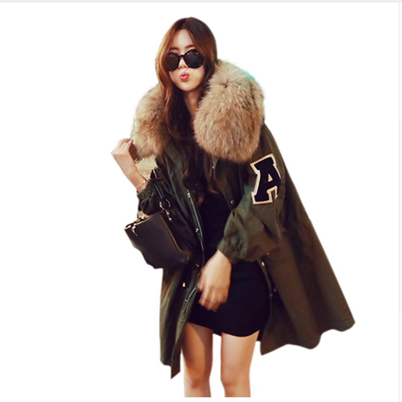 Korean Style Winter Jacket Loose Clothing Hooded Coat Women's Parkas Army Green Large Raccoon Fur Collar Outwear Supper Quality fugoo style jacket
