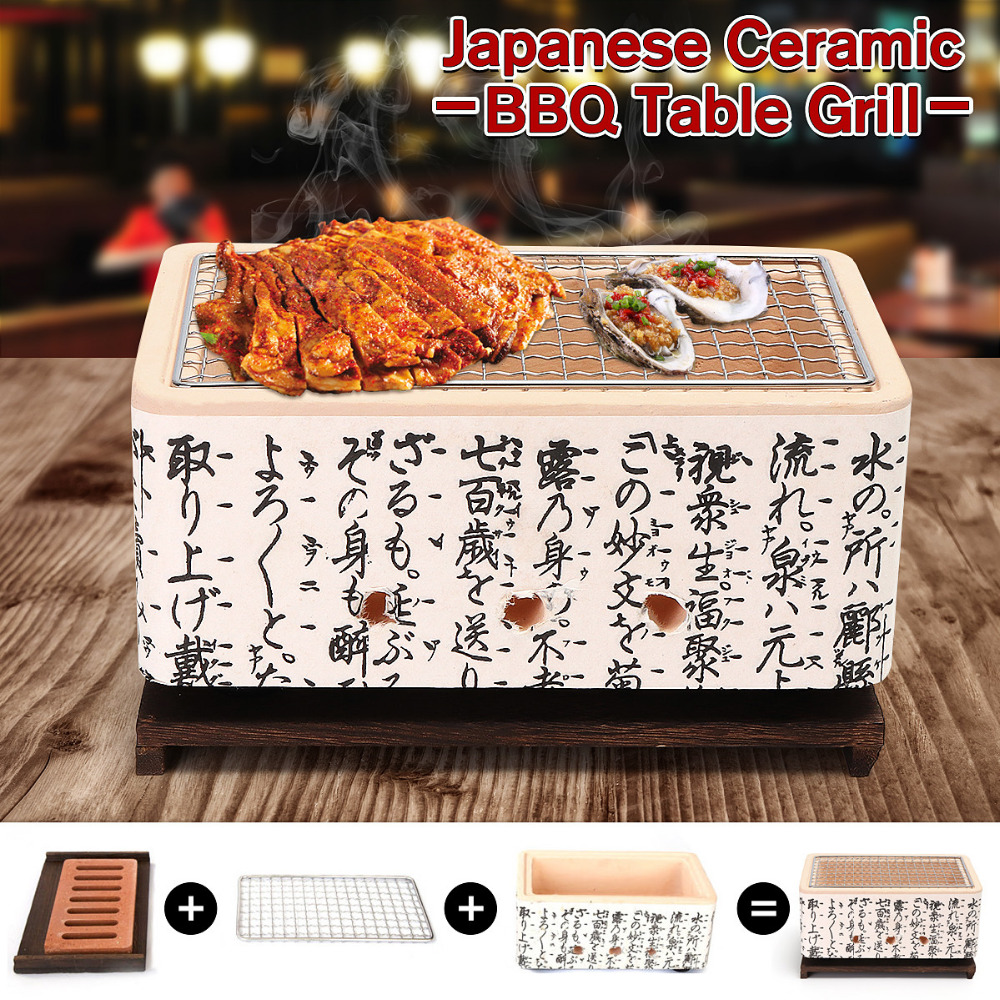 Bbq Home & Garden 3in 1 Japanese Korean Ceramic Hibachi Bbq Table Grill Yakitori Barbecue Charcoal Bergmeal Figuline Cooking Stove