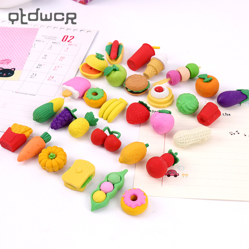 1Pack Creative Rubber Stationery Pencil Erasers Fruit Cuisine Shape Eraser For Office Kids Prize Writing Drawing Student Gift
