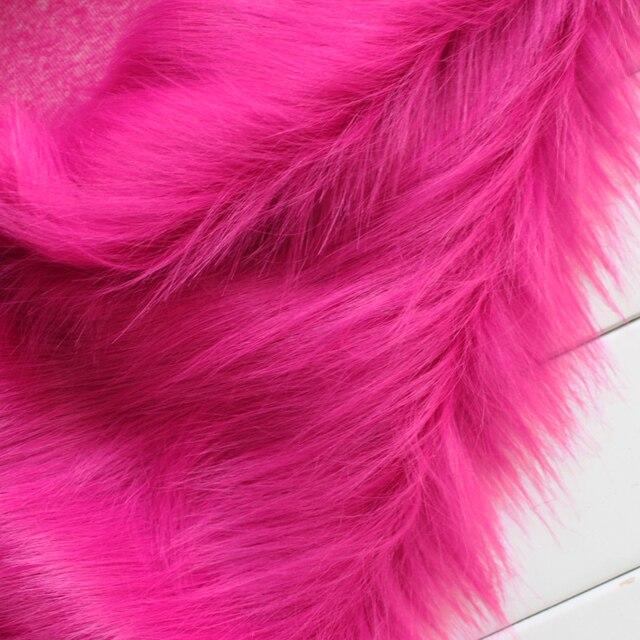 Fucsia Shaggy Faux Fur Tessuto A Pelo Lungo Di Pelliccia La