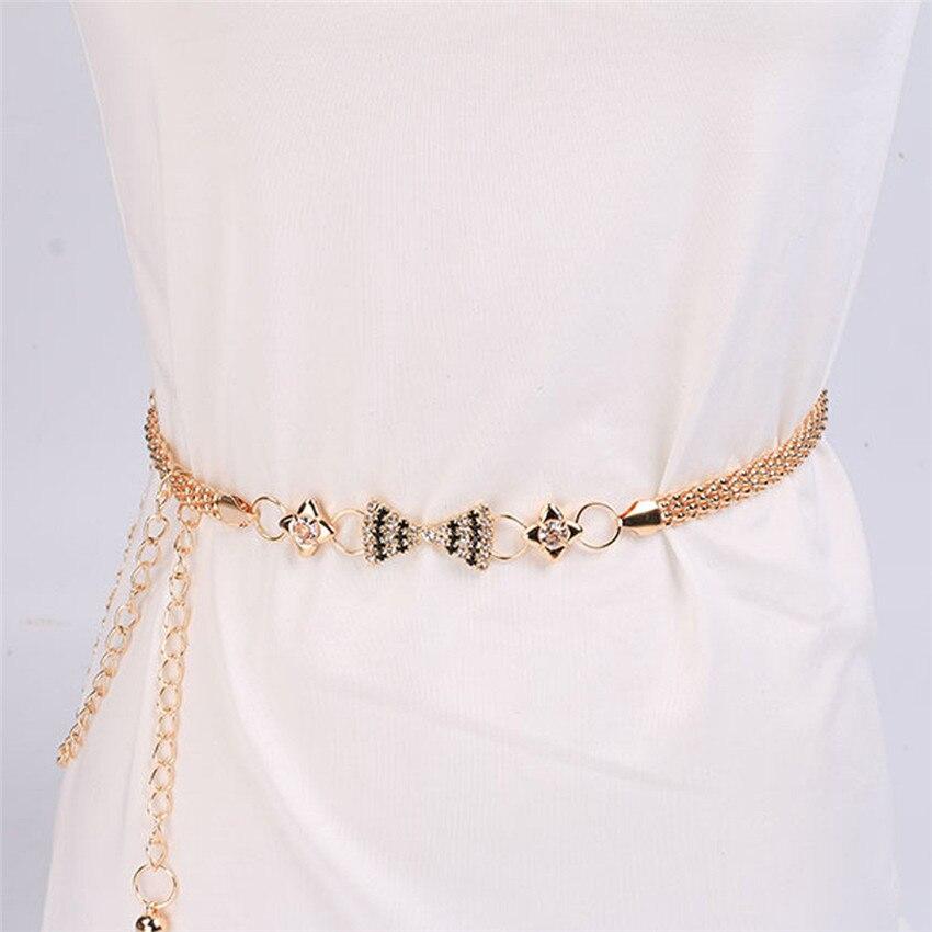 2018 elegent  women's metal chain pendant  style belt body chain  as  dress accessory #0419