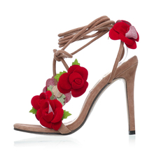 LALA IKAI Flower Open Toe Women Sandals Women Summer Pumps Fashion Lace Up Sandals Women High Heels Sandalias Mujer XWF0619-5