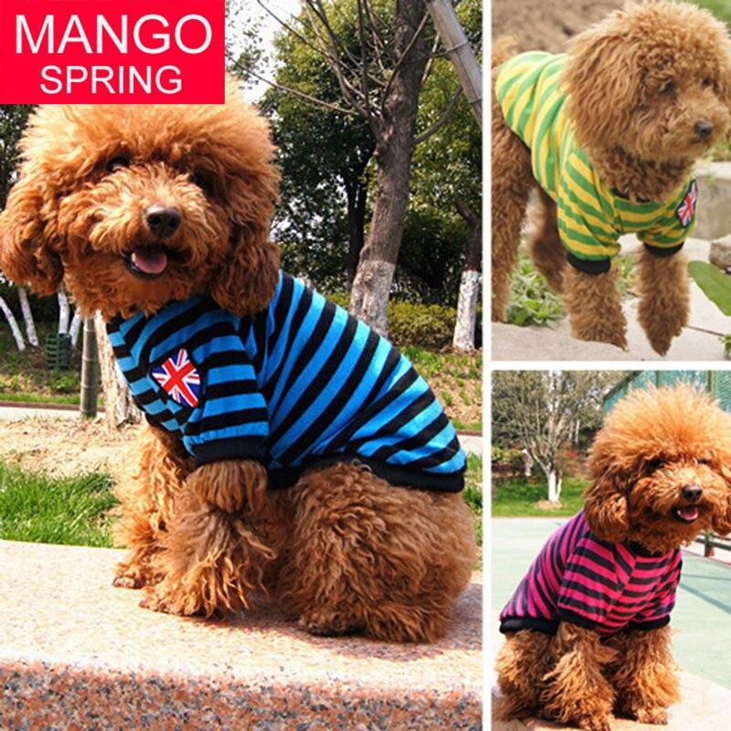 Primavera e Verão a Roupa Do Cão Bandeira Britânica Colete Pet Pet  Fornecimentos Listrado Roupas de Pelúcia c992b47311430