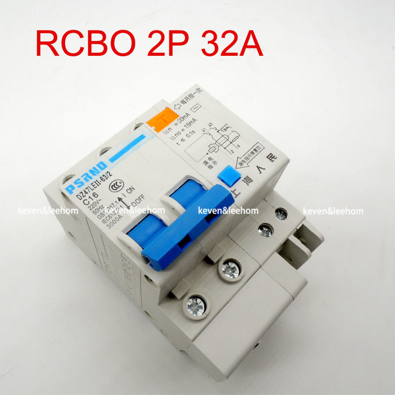 DZ47LE 2PSmall earth leakage circuit breaker DZ47LE-32A Household leakage protector switch RCBO high quality 32A 220 380V dz47le 3p n 40a 30ma 230 400v small leakage circuit breaker dz47le 40a household leakage protector switch
