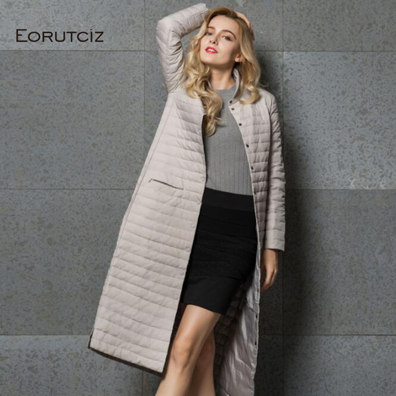 EORUTCIZ Winter Long Duck   Down     Coat   Women Ultra Light Jacket Autumn Slim Vintage Casual Oversize   Coat   LM505