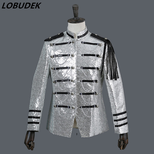 Men's Court Costume sparkly silvery sequins jacket Prom performance Uniform Outfit Nightclub Bar Male Host coat troupe costumes