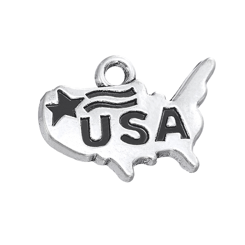 Silver United States with Flag Map Dangle Charms Jewelry DIY Findings Fit Bracelet Necklace 30PCS