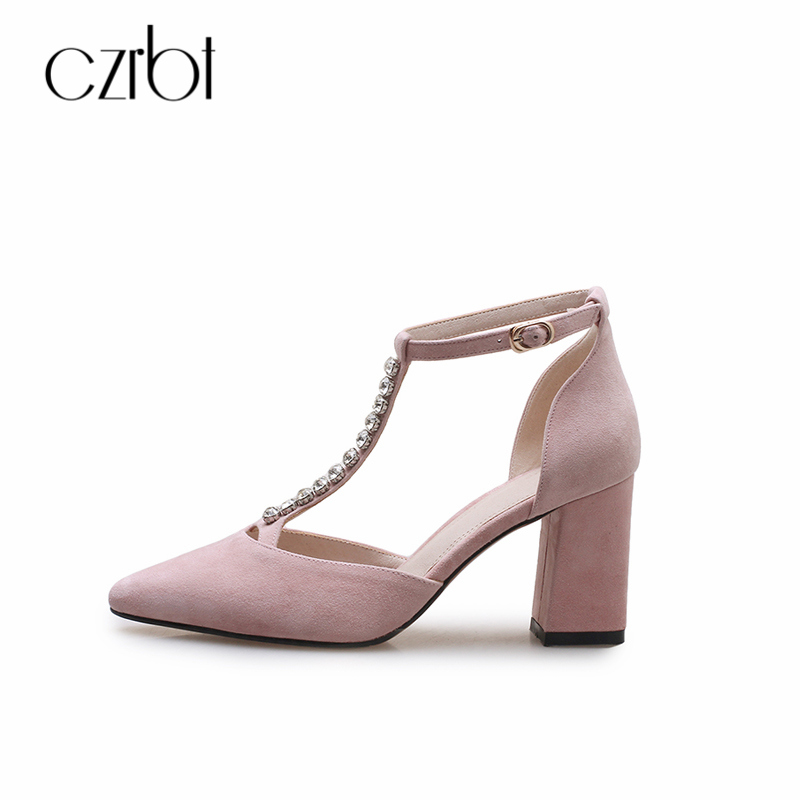 CZRBT 2018 Spring Summer Women Pumps T-Strap Shoes Thin Heel High Heel 7.5CM Sweet Buckle Strap Pointed Toe Crystal Sandals bigtree spring summer women pumps sweet bow knot high heeled shoes thin pink high heel shoes hollow pointed stiletto elegant 22