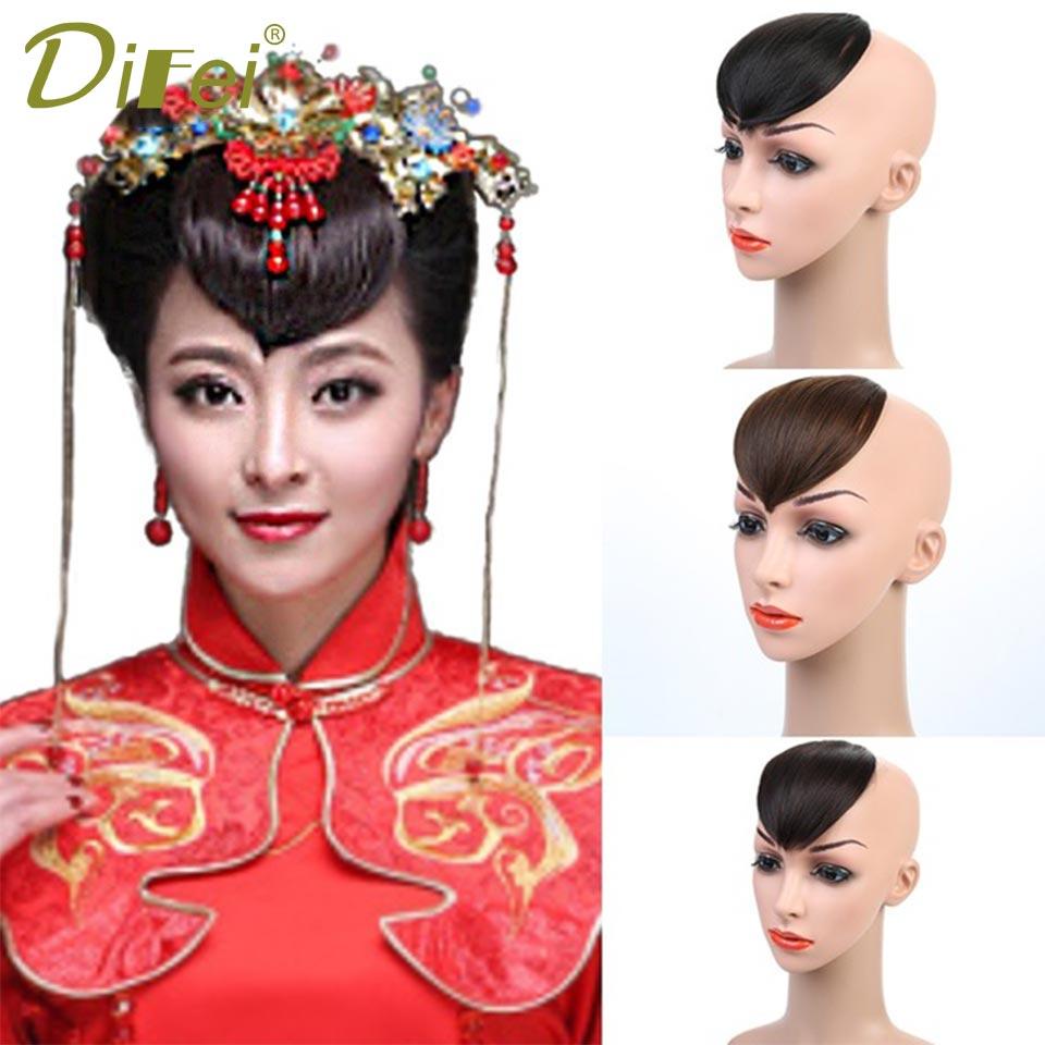 Ancient costume bride Synthetic Hair Bangs Black Colors Heart Bangs 1 Clip In Hair Extension Heat Resistant Bangs DIFEI