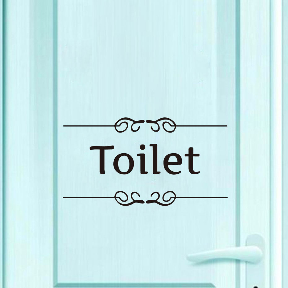 Toilet Sign Door Stickers Decal Vinyl Wall Stickers For Bathroom Hotel Waterproof Self Adhesive Wallpaper Home Decor Accessories