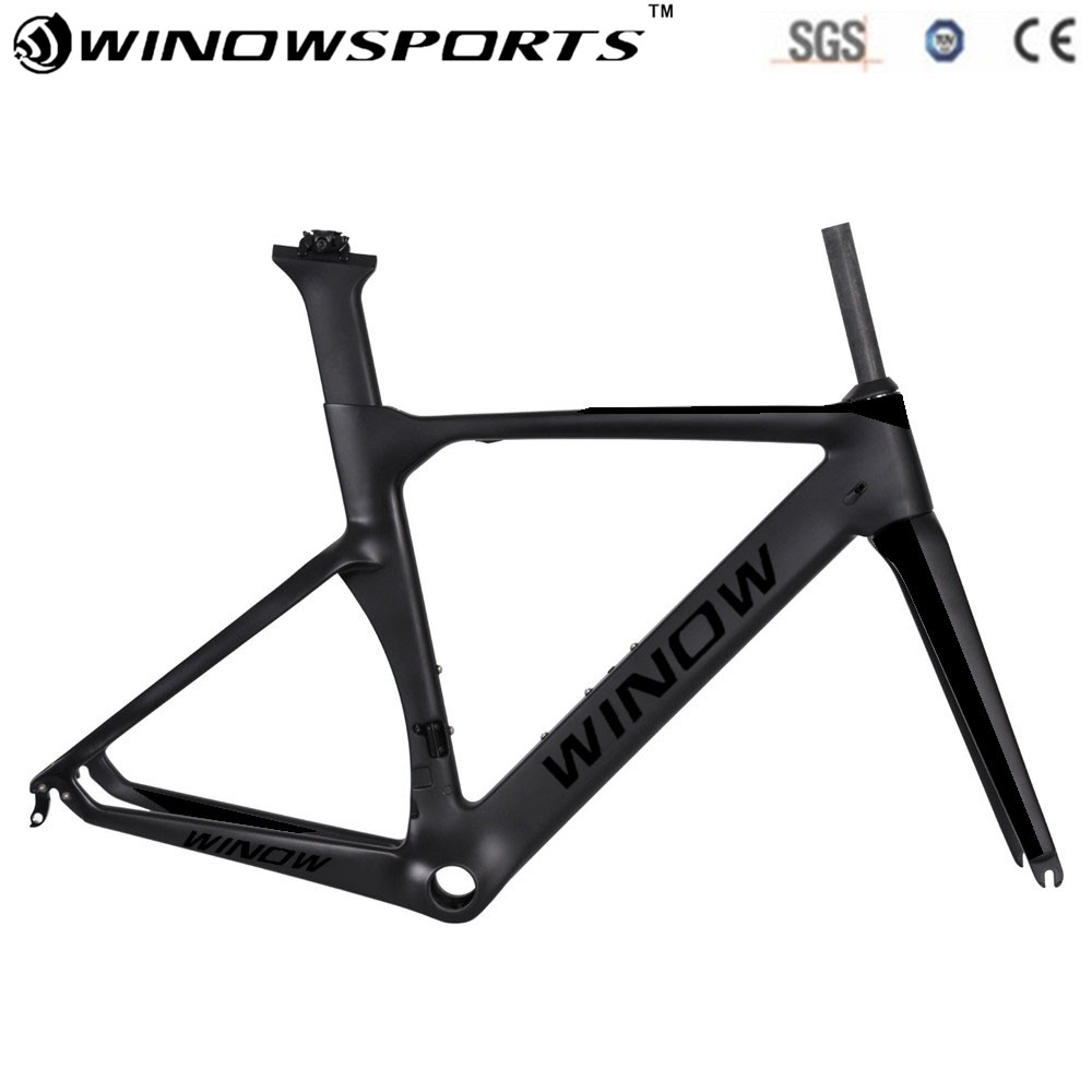 2018 winow Aero Carbon frame Carbon Racing Bicycle Frame Di2 Road Frame packaging include frame+fork+seatpost+headset og evkin carbon bicycle frame 2018 bike carbon road frame disc brake racing frameset fork seatpost ud matt di2 mechanical 56cm
