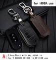 Genuine leather car key case para honda 9 crider acuerdo 15 jade fit cr-v spirior uso de automóviles especiales propósito del coche titular de la clave