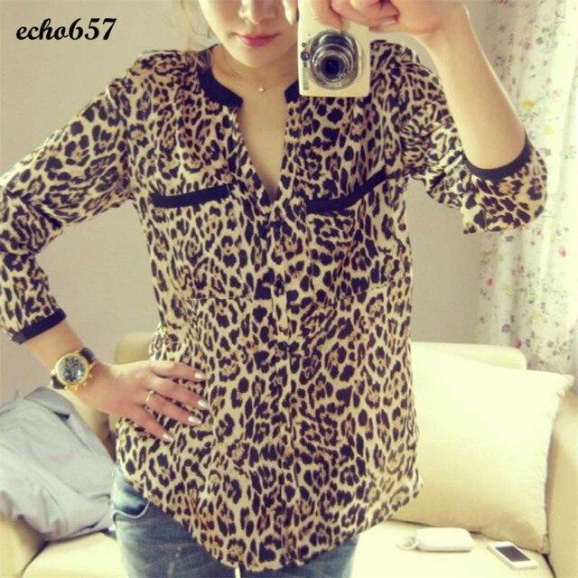 40d1fd0d1e Hot Sale Women Shirt Echo657 New Fashion Womens New Women Leopard Print  Long Sleeve Chiffon Shirt Slim Casual Blouses P40