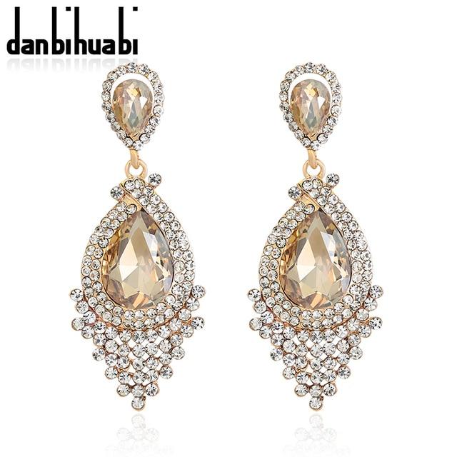 Danbihuabi индийская мода сплав Стразы Кристалл невесты Свадебные аксессуары висячие серьги с камнями для женщин висячие серьги