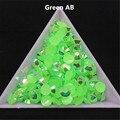 500 unids 3D Nail Art Puntas de 6mm SS30 Jalea Verde AB colores de la Resina de Flatback No Rhinestone de Hotfix Utilizar Pegamento En Las Uñas decoración