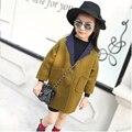 2016 новая зимняя женская детская мода пальто девушки рубашка желтый шерстяное пальто ветер пальто для 2-7 Т grils