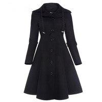 Fashion Long Medieval Trench Coat Women Winter Black Stand Collar Gothic Coat Elegant Women Coat Vintage Female 2018
