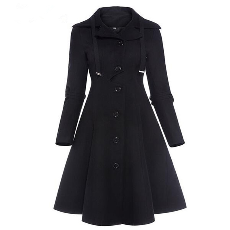 Fashion Long Medieval   Trench   Coat Women Winter Black Stand Collar Gothic Coat Elegant Women Coat Vintage Female 2018