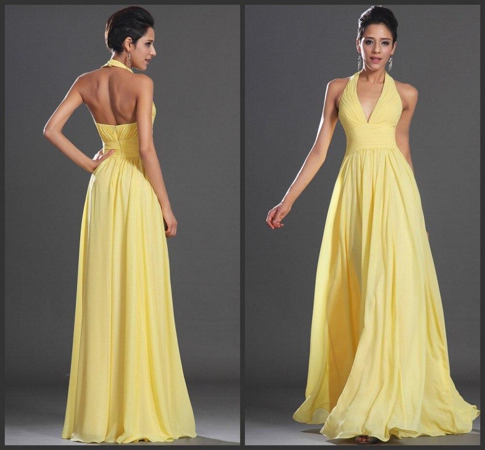 Vestido De Festa 2018 sexy Arrival Elegant A-Line Yellow Chiffon Long Formal Open Back Prom Party gown cheap   bridesmaid     dresses