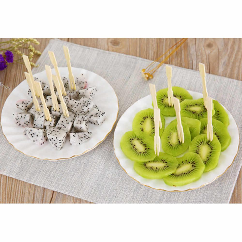 80PCS ไม้ไผ่ Catering ส้อมผลไม้ Stick อาหาร Pick Utensilio De Cozinha ผลไม้ส้อมบนโต๊ะอาหาร