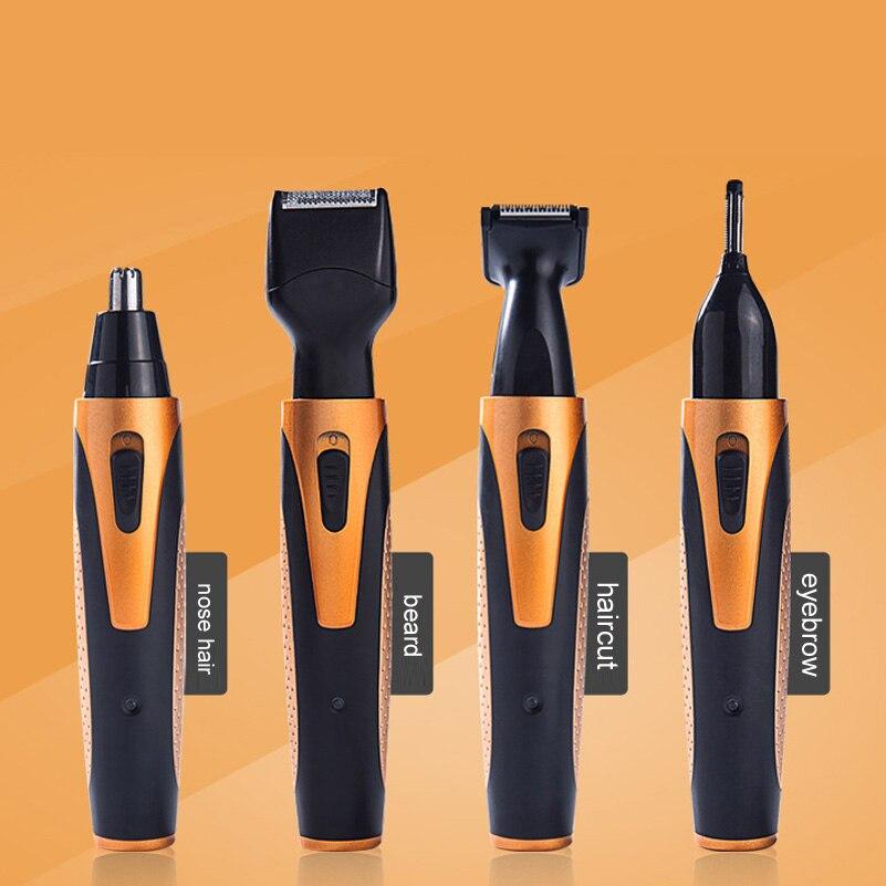 4 em 1 recarregável nariz aparador de pêlos facial cabelo nariz orelha remoção elétrica trimmer nasal enxaguamento sobrancelha nariz orelha cortador ferramenta