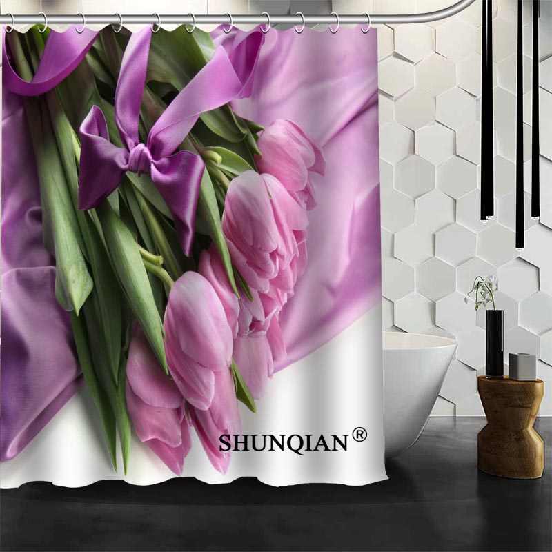 Best Nice Custom Flowers Tulips Shower Curtain Bath Waterproof Fabric Bathroom MORE SIZE A61 15 In Curtains From Home Garden On