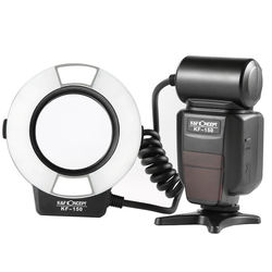 K&F Concept Macro Ring Light Flash,K&F Concept Kf-150 Ttl Speedlite Lcd Display And Wireless Slave Function With 6Pcs Adapter