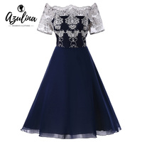 AZULINA Plus Size Lace Panel Dress Women Vintage Party Dress Off Shoulder Short Sleeves Robes 2018