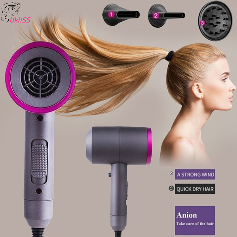 3 In 1 Professional Blow Dryer Hot Air Blow Hot Air Brush Hair Dryer Mini Home & Travel Use Hair Dryer With 3 Changeable Nozzles