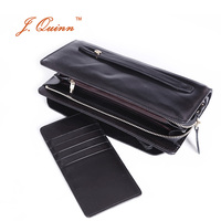 J Quinn Large Boss Business Genuine Leather Men Clutch Wallet Zip Around With Removable Cards Holder