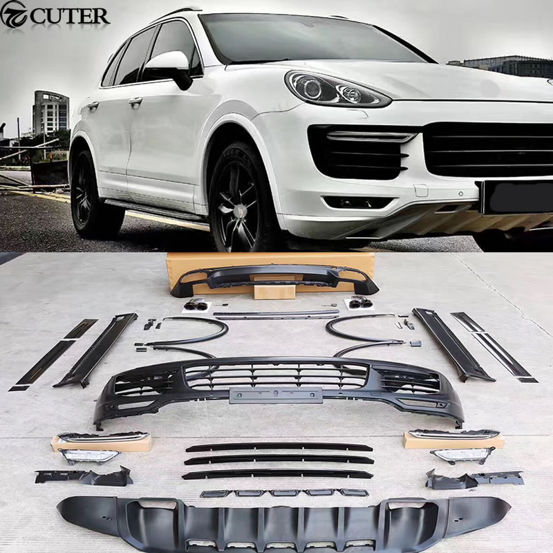 FRP GTS style Car body kit front bumper rear side skirts Wheel eyebrows exhaust pipes for Porsche Cayenne 15-17